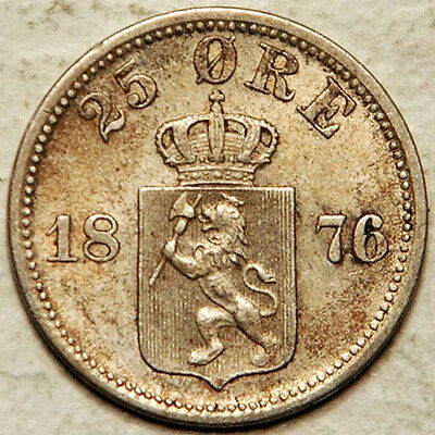 Norway Silver 25 Ore 1876