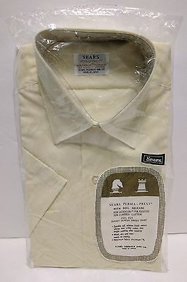 New Vintage Sears PERMA-PREST Yellow Short Sleeve Dress Shirt (15) Made in Japan