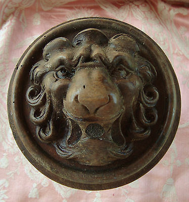 Fabulous Antique French Carved Lion's Head Finial Wood Decorative Element