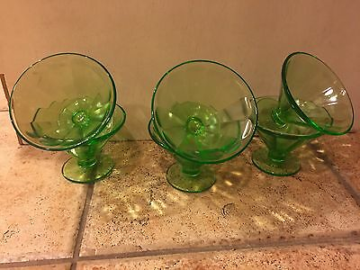 VINTAGE Federal Green Depression Glass Sherbert BERRY ICE CREAM DISH Cups Set 6