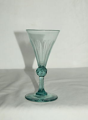 ANTIQUE PALE GREEN WINE GLASS WITH FACETED BALL KNOP 5.5 inches high