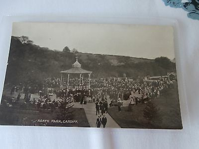 Roath Park Bandstand and concert Cardiff old postcard