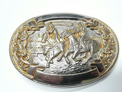 Superb Chambers Belt Co. American Belt Buckle horses in gold and silver