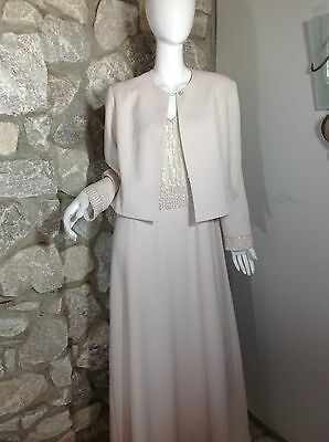 Daymor Couture Mother Of The Bride 2 pc Long Champaign Jacket Dress Size 16 $999