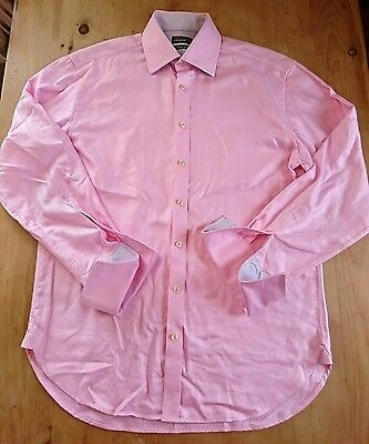 mens Ted Baker shirt 16.5/42 pink double cuff