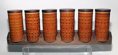 Hornsea Pottery Saffron Pattern Spice Rack with six Storage Jars