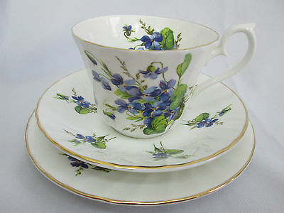 Vintage English Violets China Trio Teacup Saucer Plate