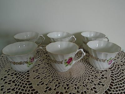 6 Vintage Small Porcelain  Scalloped Edged Embossed  Tea Cups