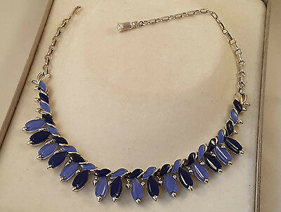 Designer Vintage Blue & Rhodium Plated Necklace By Coro