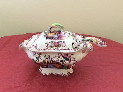 Mason's Ironstone Fruit Basket Red Pattern Covered Tureen With Ladle