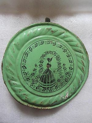Antique Lady w/ Bonnet Green Chimney Stove Pipe Tin Flue Cover
