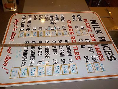 Metal MILK PRICES Dairy Advertising Sign Vintage 1 sided