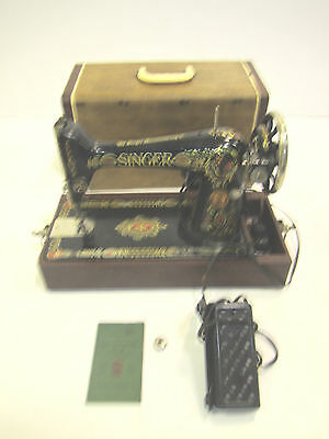 Vintage Singer Sewing Machine Model 66  1923 Electric Portable Tabletop
