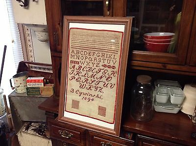 Antique 1894 Alphabet Sampler Framed Red Work Needlework B Cywinski Primitive