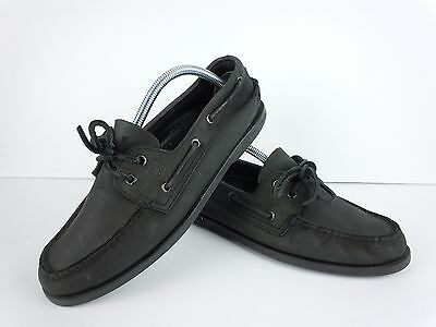 Mens Sperry Top-Sider Black Leather 2 Eye Boat Shoes Size 9