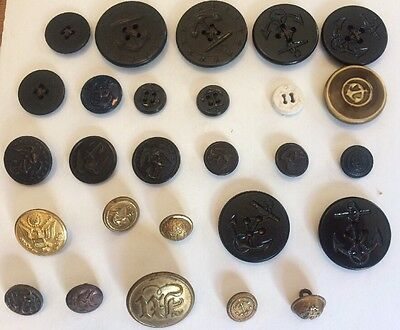 Lot Of U.S. Navy Buttons And A Few Other Military Buttons