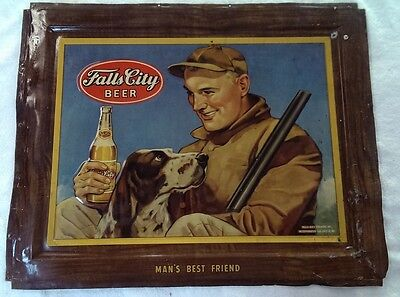 "Vintage Falls City Beer sign. Man and dog.  Embossed Metal 16"" x 20"""
