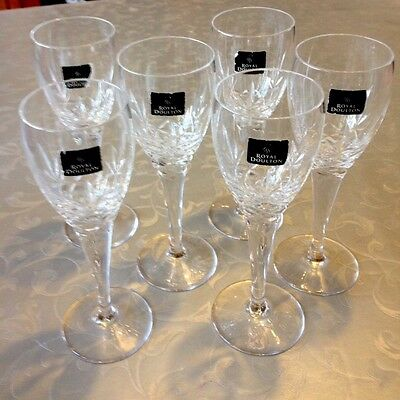 Royal Doulton Crystal 'Highclere' Cut Sherry Glasses X 6 Boxed