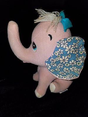 Vintage 1960s Dakin Dream Pet Pink Elephant Sawdust Stuffed Felt Animal Japan