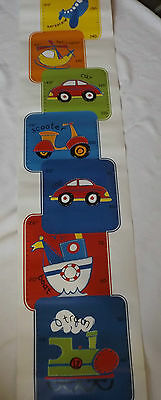 NEW BOYS BEDROOM TRANSPORT THEME SELF ADHESIVE HEIGHT CHART UP TO 137cm (5FT)