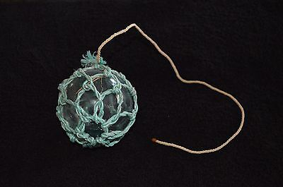 "*antique Authentic 3"" Japanese Glass Fishing Float With Netting*"