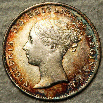 Great Britain Silver 3 Pence Threepence 1861 (Colorful Beauty!)