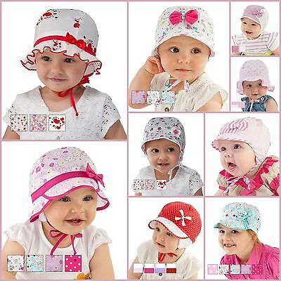 New! Beautiful Baby Girl Hat / Cap Perfect For Summer 100% Cotton 0mth - 36mths