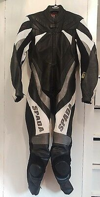 Spada leathers, one piece, motorcycle clothing, black, white, silver & grey