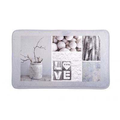 Tapis de sol gris touché doux décor nature Love xxx 45x75cm DESIGN CALLY