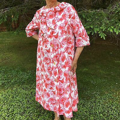 DORIS LEON Vtg 50s 60s Floral Robe Womens A-line Red Pink Dressing Gown S M