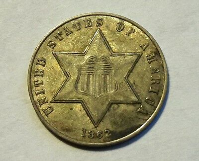 1862 Three Cent Silver Nice