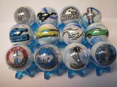 FORD MUSTANG COBRA ect.. 5/8 size glass marbles lot collection + stands