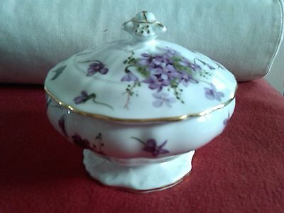 Hammersley/Spode Victorian Violets Raised Base Covered Bowl