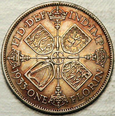 Great Britain Silver Florin (2 Shillings) 1933 (High Grade + Colorful Toning!)