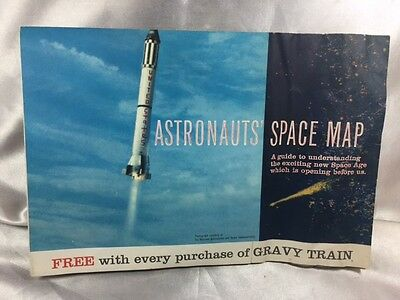 "1961 ""astronaut's Space Map"" General Foods Gravy Train Promo***free Usa Ship***"