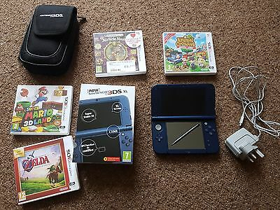 New Nintendo 3DS XL Console Metallic Blue, 4 Games, official charger, carry case