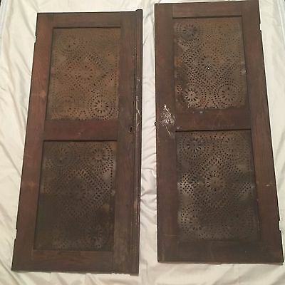 2 Antique Pie Safe Cabinet Doors Unusual Punched Tin Inserts Original stain