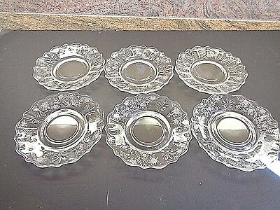 6 Antique Etched Glass Saucers