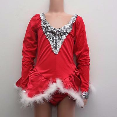 Dance Costume Medium Adult Red Long Sleeve Christmas Dress Solo Competition
