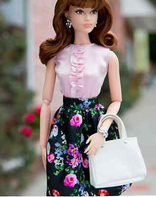 NEW The Look Sweet tea pink top & black Floral skirt fits Model Muse OUTFIT ONLY