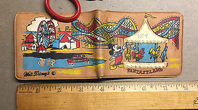 Very Early Walt Disney FANTASYLAND Mickey Mouse Wallet, 1960s California SCARCE