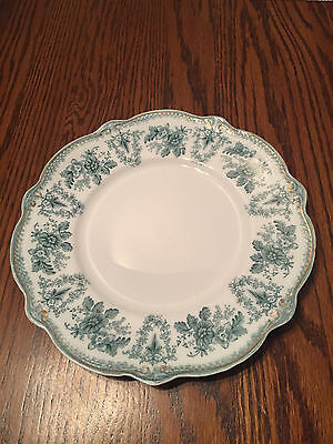 """WH Grindley Brussels Blue & White Transfer Ware 8 3/4"""" Plate 1897 England"""