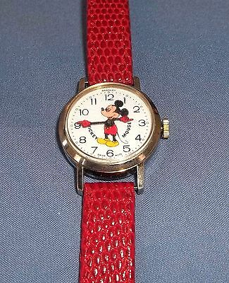 Vintage Bradley Swiss Mickey Mouse Wind Up Watch Working