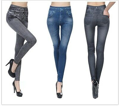 2 PACK denim look fleece lined Seamless Jeans Slim Leggings  black and/or blue