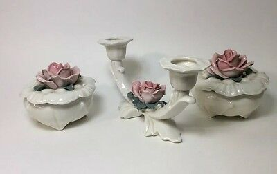 Karl Ens Ceramics - 2 Porcelain Rose Trinket Boxes & 1 Double Candle Holder