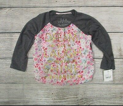 NWT LOL Vintage Baby Girl Shirt Floral Gold Text Size 12 Months