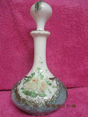 Victorian Dresser Bottle/ Barber Bottle Antique Milk Glass Hand Painted 11 1/2""