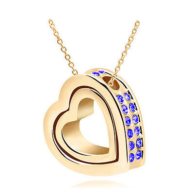 New Blue Rhinestones Gold Plated Love Double Heart Charm Pendant Necklace