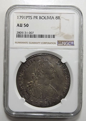 Bolivia 8 Reales 1791 Pts Pr , Ngc Au50, Potosi Mint, Clashed Dies