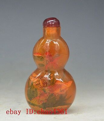 China Hand Painted goldfish gourd snuff bottle *59